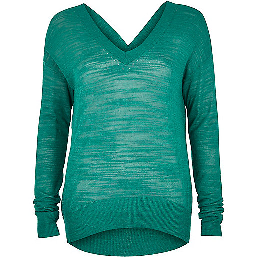Green slouchy knit V-neck sweater
