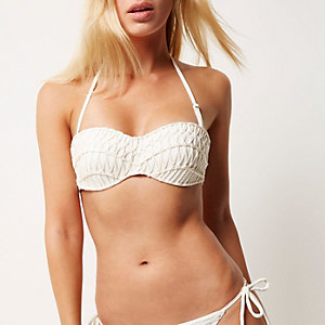 Cream piping balconette bikini top