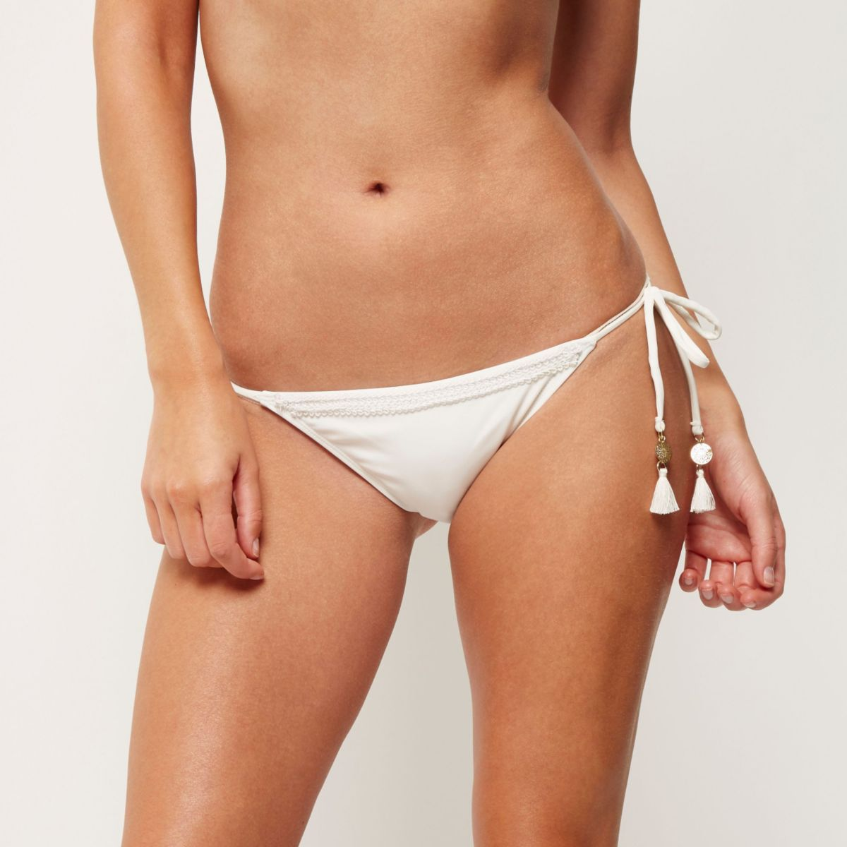 Cream tie side bikini bottoms