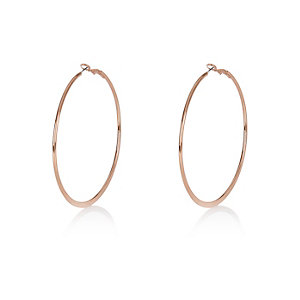 Rose gold tone flat hoop earrings