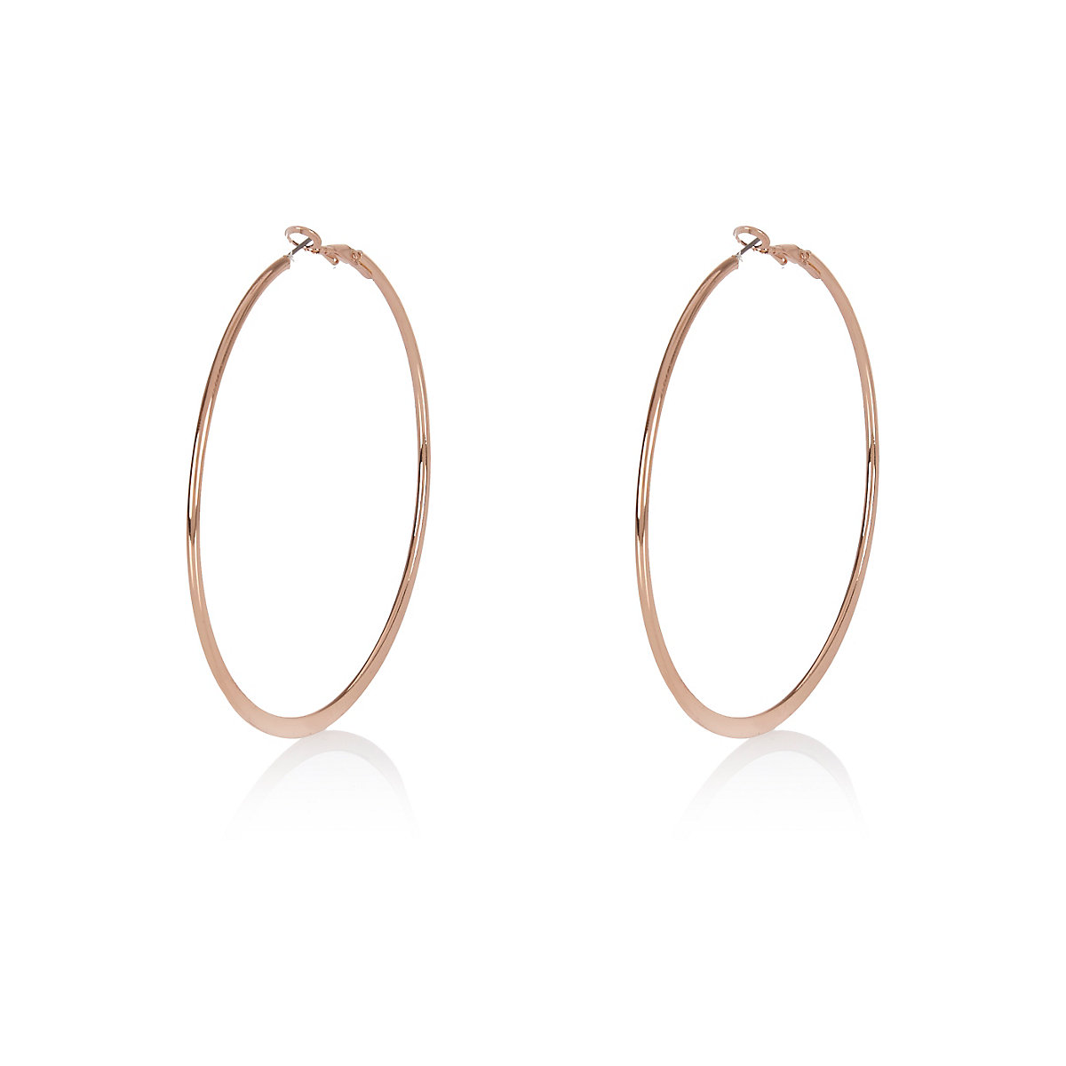 Rose gold colour flat hoop earrings