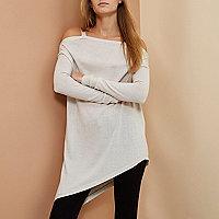 Beige RI Studio merino wool asymmetric sweater
