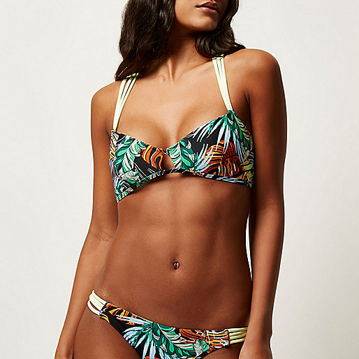 Black tropical print cami bikini top