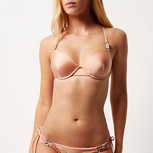 Light pink strappy push-up bikini top