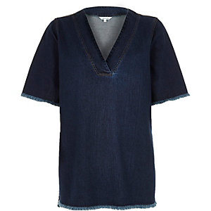 Jeans-T-Shirt in dunkler Waschung