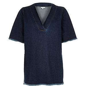 T-shirt en jean délavage foncé à ourlet effiloché
