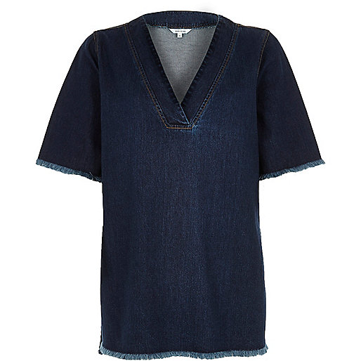 Dark wash frayed denim t-shirt