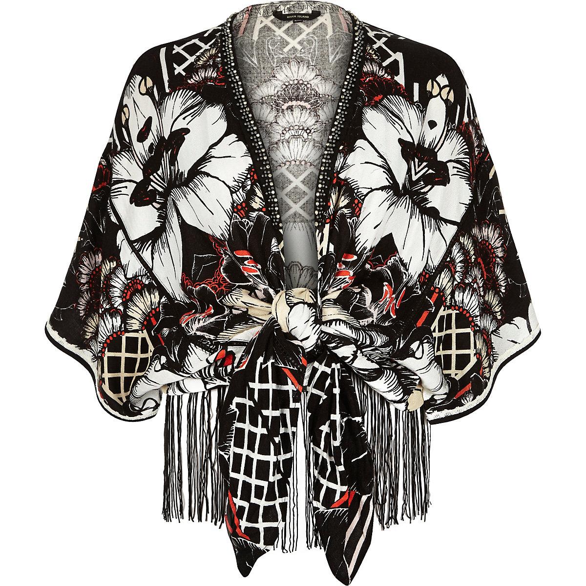 44fb46a10 Black floral print tie front kimono jacket - Kimonos - Tops - women