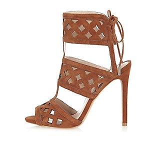 Brown suede laser cut sandal heels