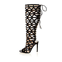 Black caged lace-up high leg gladiator heels
