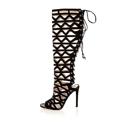 Black caged lace-up high leg gladiator heels
