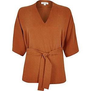 Rust brown kimono top