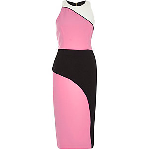 Pink colour block bodycon dress
