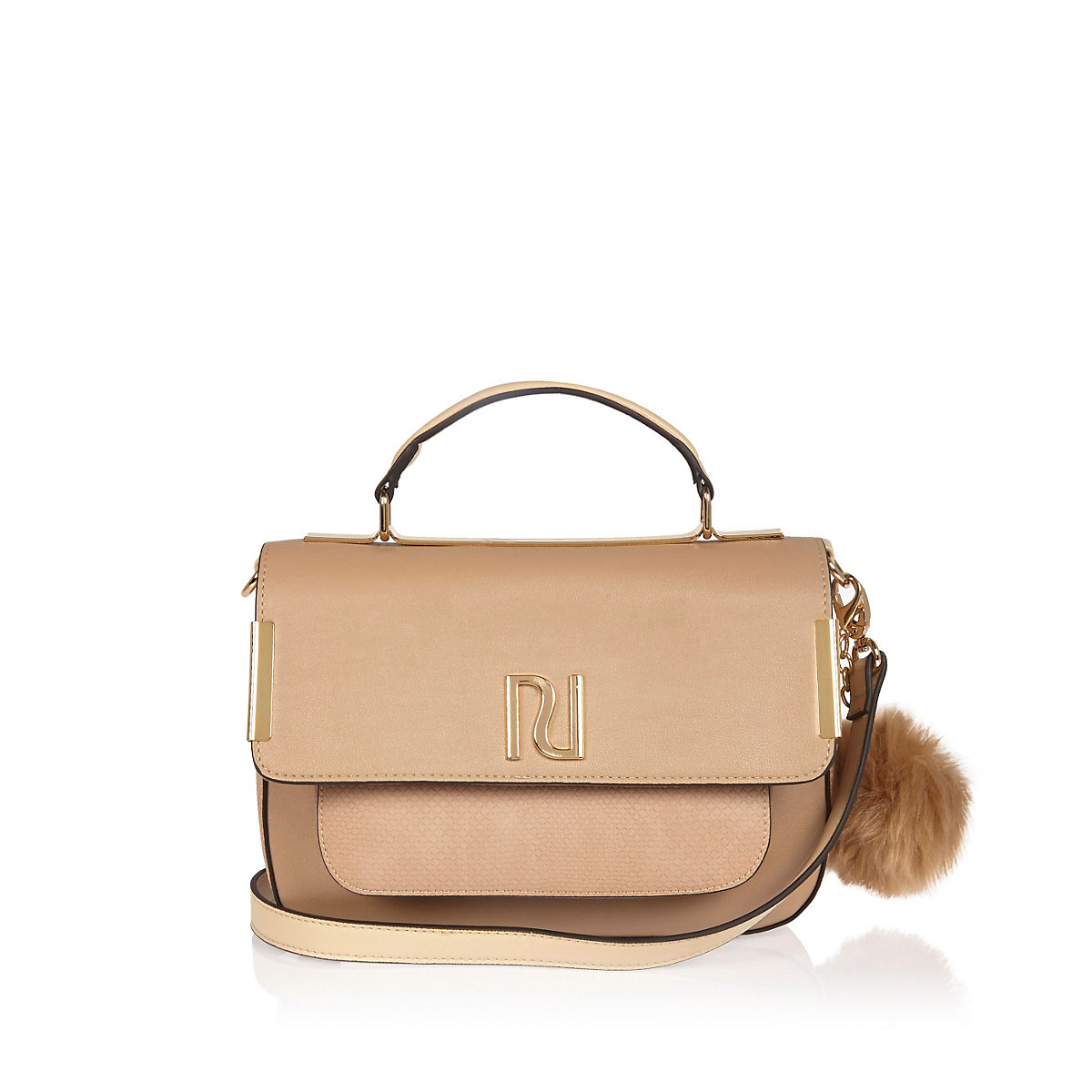 Beige RI pom pom satchel handbag