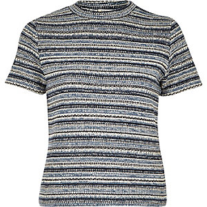Blue retro stripe fitted top