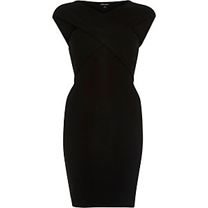 Black cross front bodycon dress