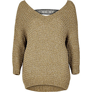 Gold brown slouchy sweater