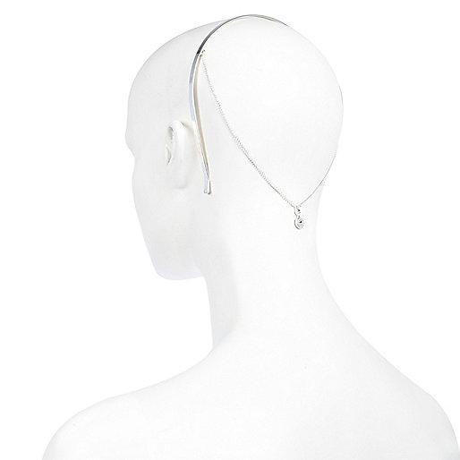 Silver tone chain back hairband