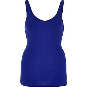Blue V-neck longline vest