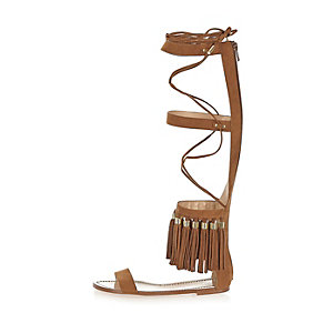 Brown tassel high leg sandals