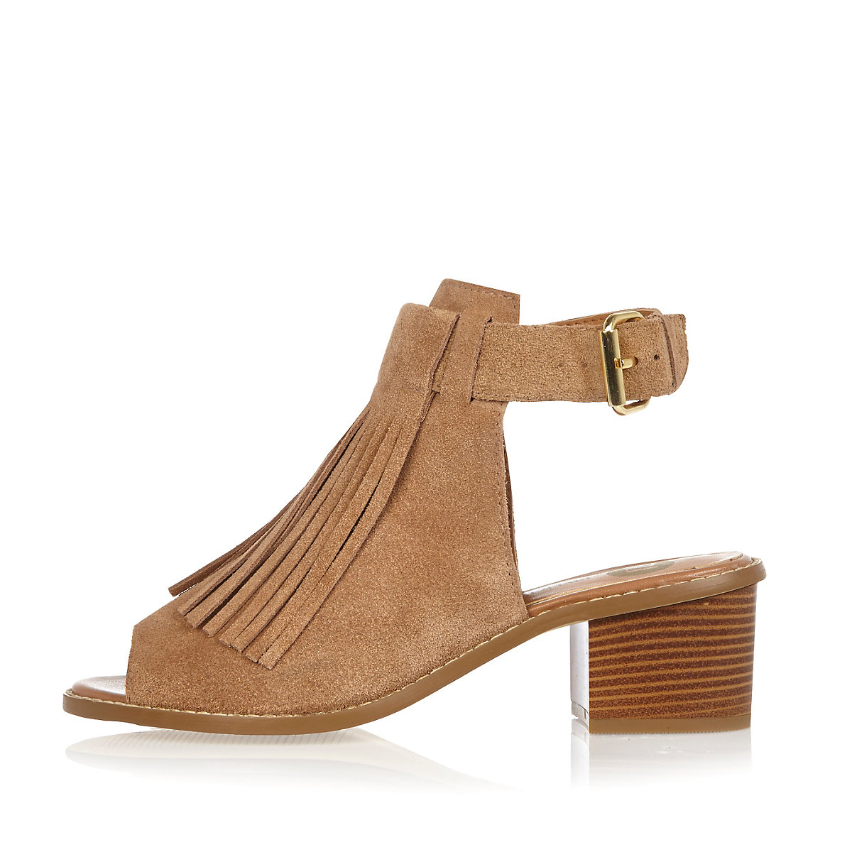 5a296a38273d Beige suede fringed block heel sandals - Sandals - Shoes   Boots - women