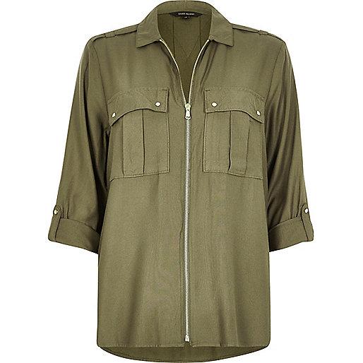Khaki military zip shirt