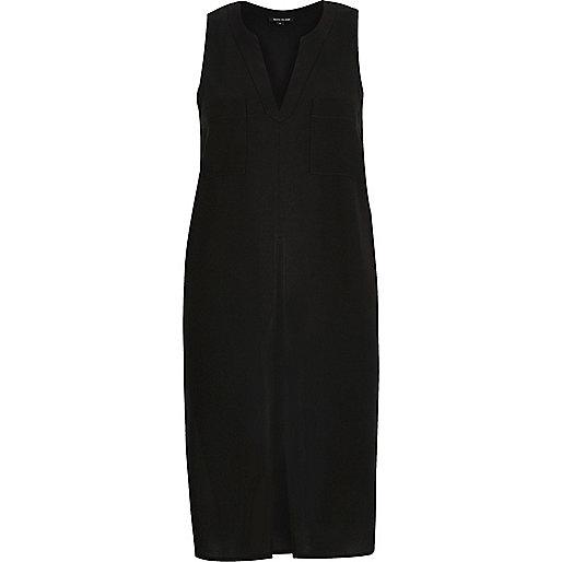 Black satin split front vest