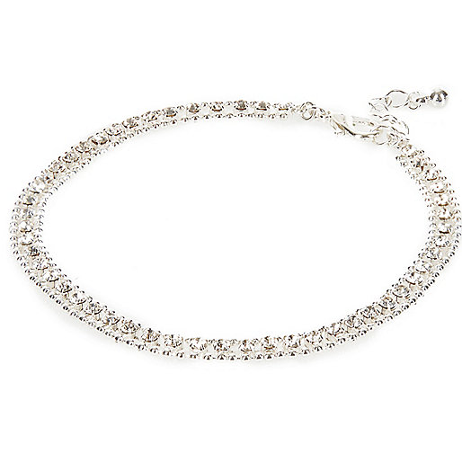 Silver tone diamante embellished anklet