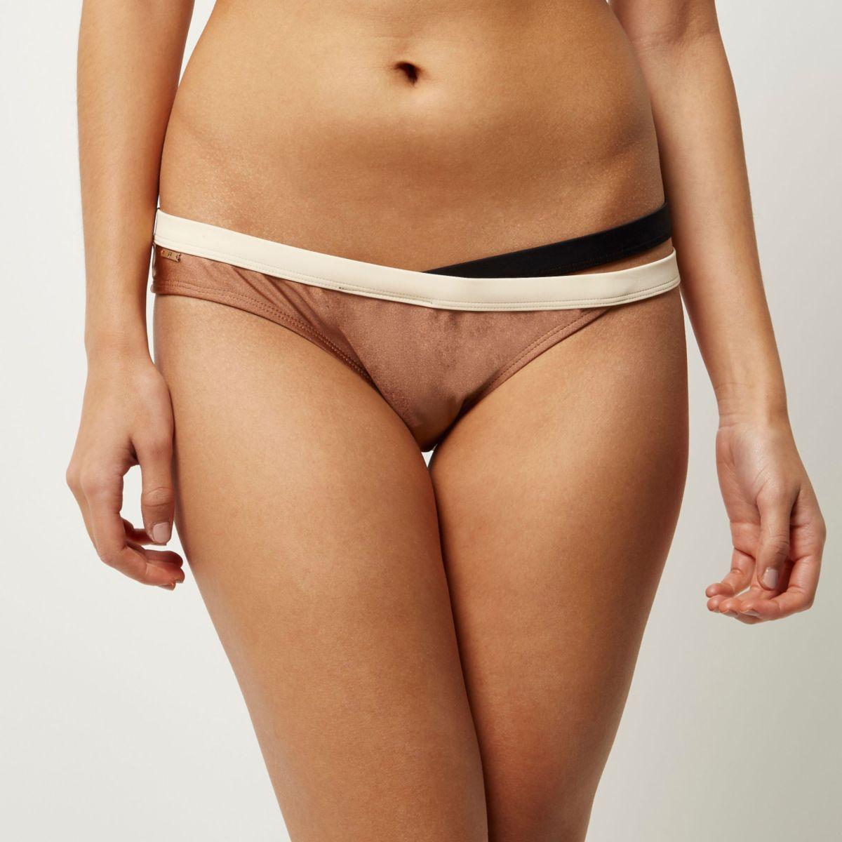 RI Resort brown strap bikini bottoms