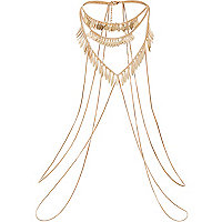 Gold tone shard detail body harness