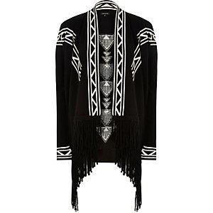 Black knit draped tassel cardigan