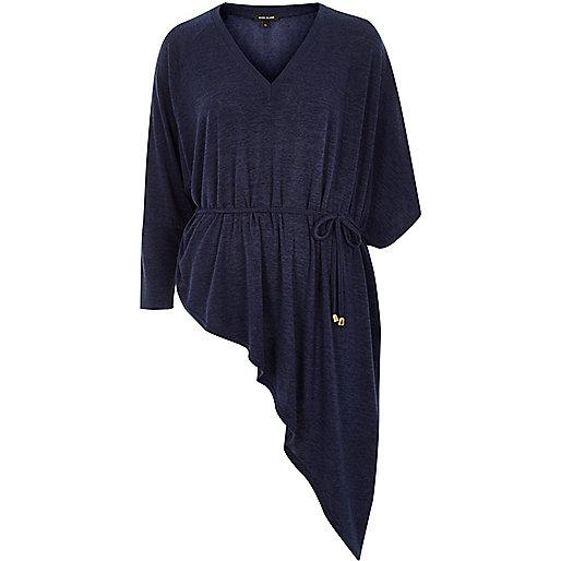 Dark blue knit asymmetric top