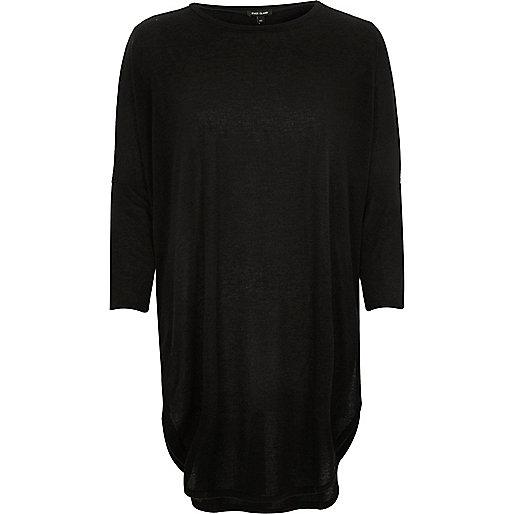 Black knit longline circle t-shirt