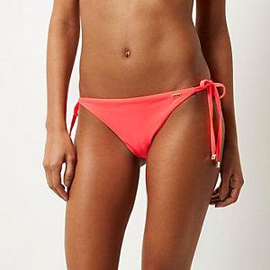 RI Resort right pink tie side bikini bottoms