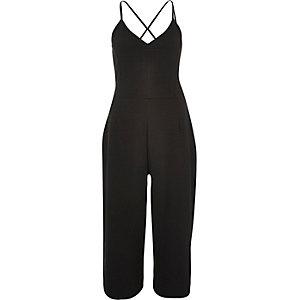 Black textured culotte jumpsuit