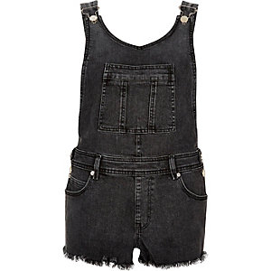 Washed black raw overall shorts