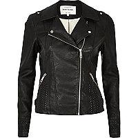 Schwarze Bikerjacke im Leder-Look