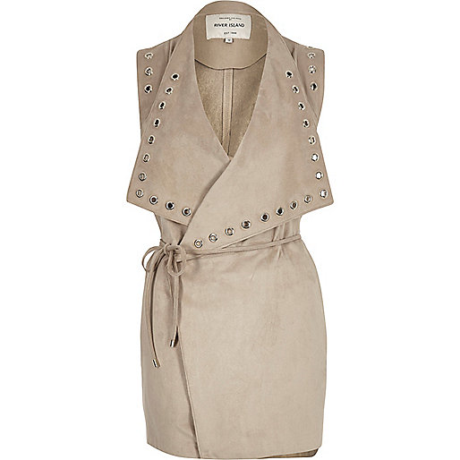 Stone eyelet sleeveless jacket