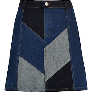 Denim patchwork mini skirt
