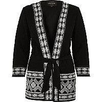 Veste kimono noire à ornements