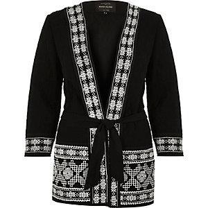 Black embellished kimono jacket