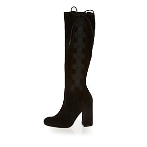 Black suede knee high lace-up boots