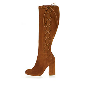 Tan suede knee high lace-up boots