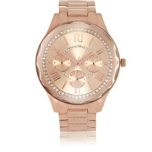 Rose gold tone rhinestone encrusted watch