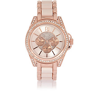 Rose gold tone chunky embellished watch