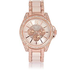 Rozegoud groot versierd horloge