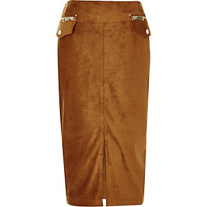 Rust brown faux suede pencil skirt