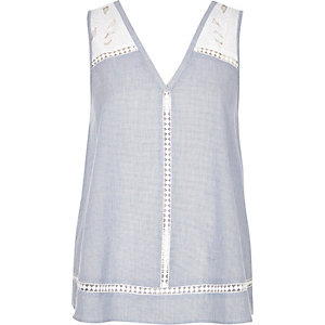 Chambray blue embroidered tank top