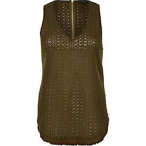 Khaki crochet tank top