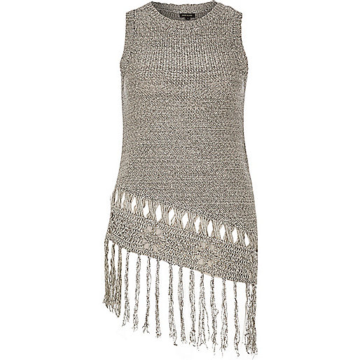 Grey knitted fringed asymmetric tank